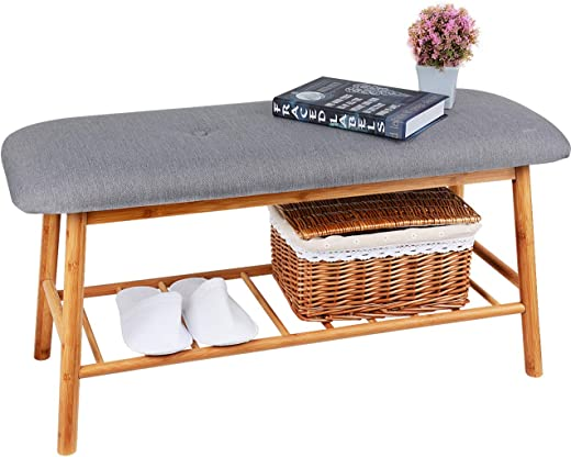 B07G8CW77Z✅Shoe Rack Bench Ottoman Upholstered – Grey Padded Cushion Bamboo Storage Seat Shelf Free Standing Entryway Hallway Bedroom Living Room