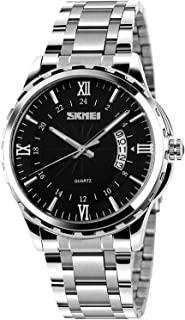 Mens Classic Casual Quartz Watch Luminous Hand Stainless Steel Band Roman Numeral Date Watch