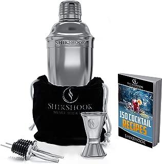 SHIKSHOOK Cocktail Shaker Set - Includes Martini Shaker, Double Jigger 1oz2oz And 2 Liquor Pourers & Drink Mixer E- Book: 150 Bartender Recipes