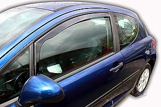 J&J AUTOMOTIVE Windabweiser Regenabweiser für Peugeot 207 3 türer 2006 2012 2tlg HEKO dunkel