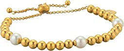 Atlas - 8 mm White Round Pearl Gold Plated Bracelet