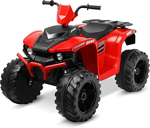 new arrival Kidzone 12V Battery Powered Electric Ride-On ATV Toy popular Vehicle with DIY License Plate, 4 Wheeler Quad Car, MP3, High Low Speeds, LED Lights, Bluetooth, online Radio, Red outlet sale