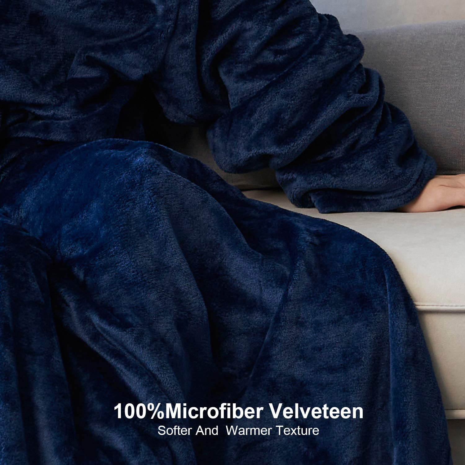 Grey EHEYCIGA TV Blanket with Sleeves and Pocket Soft Fleece Wearable Blanket for Adult with Feet 67x78 Inches