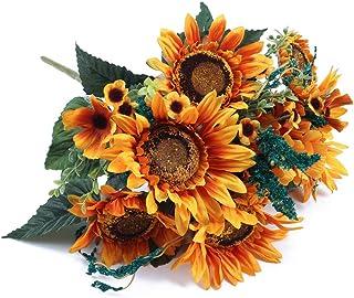 NAHUAA Girasoles Flores Artificiales Flores de Seda Girasol para Cementerio Boda Mesa Hogar Balcon Jardín Cocina Decoración Exterior Interior