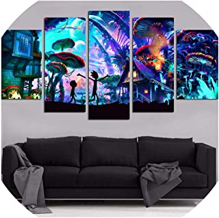 Cold Rain-prints Canvas Wall Art Modular Pictures Home Decor 5 Pieces Rick and Morty Paintings Living Room HD Printed Animation Posters Framework,20x35 20x45 20x55cm,Frame