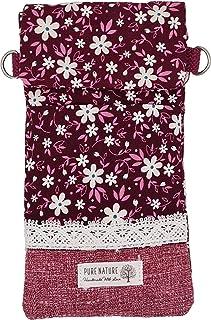 Goldline Smartphone- und Handy Tasche, Umhängetasche, Crossbag, Patchwork rot Blumen