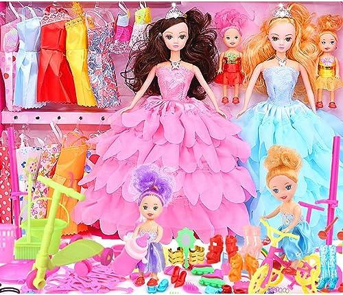 Mode mädchen Puppe Set Geschenkbox Villa Schloss mädchen Prinzessin überGrün Kleid Hochzeit Puppe Kinderspielzeug (einschlie ch 4 Puppen, 12 Sätze Von Kleidern, 100 Sätze) (Farbe   1)