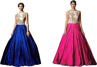 Florence Women's art silk Dress Material (GC011-GC012_ Blue Pink_ Free)