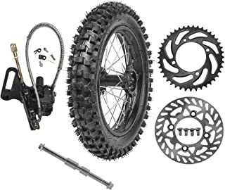 WPHMOTO 90/100-14 Rear Wheel Tire Rim With 15mm Bearing & Brake Disc Rotor & 428 41T Sprocket & Hydraulic Disc Brake Caliper Master Cylinder and Rim Axle Set for Dirt Pit Bike