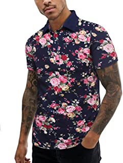 URRU Men's Summer Slim Fit Short Sleeve Polo Shirt Floral Printed Casual Light Weight Polo T Shirt