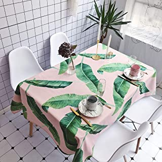 Simple Modern kitchen/home tools Pink Background Green Leaves Pattern Waterproof Anti-scalding Rectangle Cotton and Linen ...