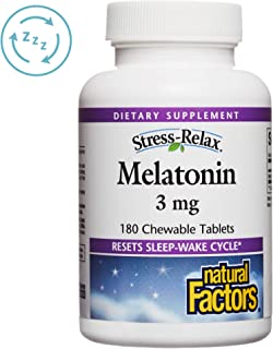 Stress-Relax Melatonin 3 mg by Natural Factors, Natural Sleep Aid, Resets the Sleep-Wake Cycle, 180 chewable tablets (180 servings), Peppermint Flavor