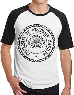 University Of Wisconsin--Madison Numen Lumen Raglan Baseball Jerseys Short Sleeve Design Tee
