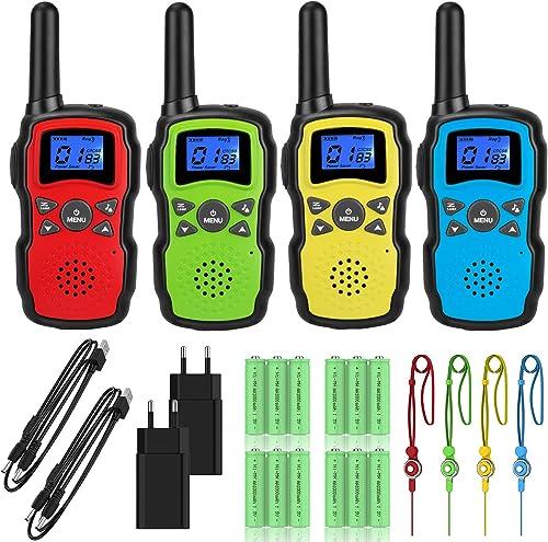 Wishouse Talkie Walkie Rechargeable USB Adulte Longue Portée 4 Pièces Batterie 4X3000mAh VOX Talkie-Walkie avec Longe...