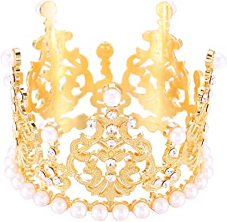 Cake Topper Rhinestone Mini Crown Tiara Princess Crown Gold