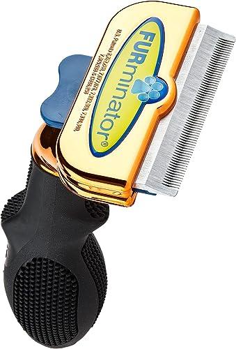 Furminator 101005M Deshedding Brush Comb Tool For Short Hair Medium Dogs (Metallic Rose Gold)