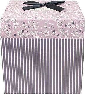 Emartbuy Lusso Rigido Confezione Regalo Quadrata Scatola a Strisce Lilla Con Coperchio Floreale Rosa 15 cm x 15 cm x 15 cm Nastro e Interno Stampato