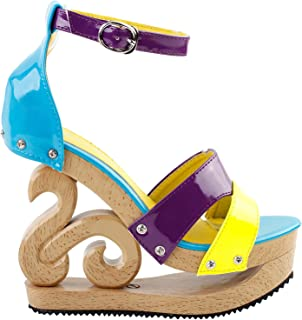 SHOW STORY Sexy Colorblock Ankle Strap Wooden Wedge Platform Clogs Sandals,LF30833