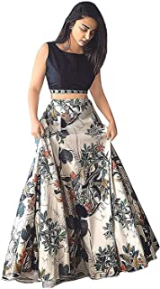 Colours Collection Women's Banglori Silk digital print Multi-colour Semi-Stitched Lehenga Choli (Free Size) (WHITE)