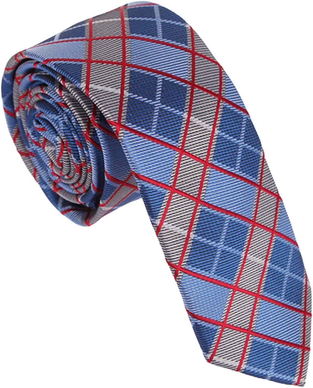 Skinny Tie For Mens Dan Smith Dress Slim Necktie Checkered Microfiber