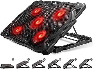 Pccooler Tapis de refroidissement pour ordinateur portable avec 5 ventilateurs silencieux à LED rouge pour ordinateur port...