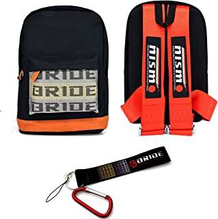 New Bride Racing Backpack With NISMO Racing Harness Shoulder Straps Red+Bride Key chain with Hook