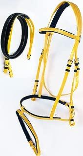 PRORIDER Horse English Endurance Flash Noseband Biothane Bridle w/Rubber Grip Reins Yellow 40HS33