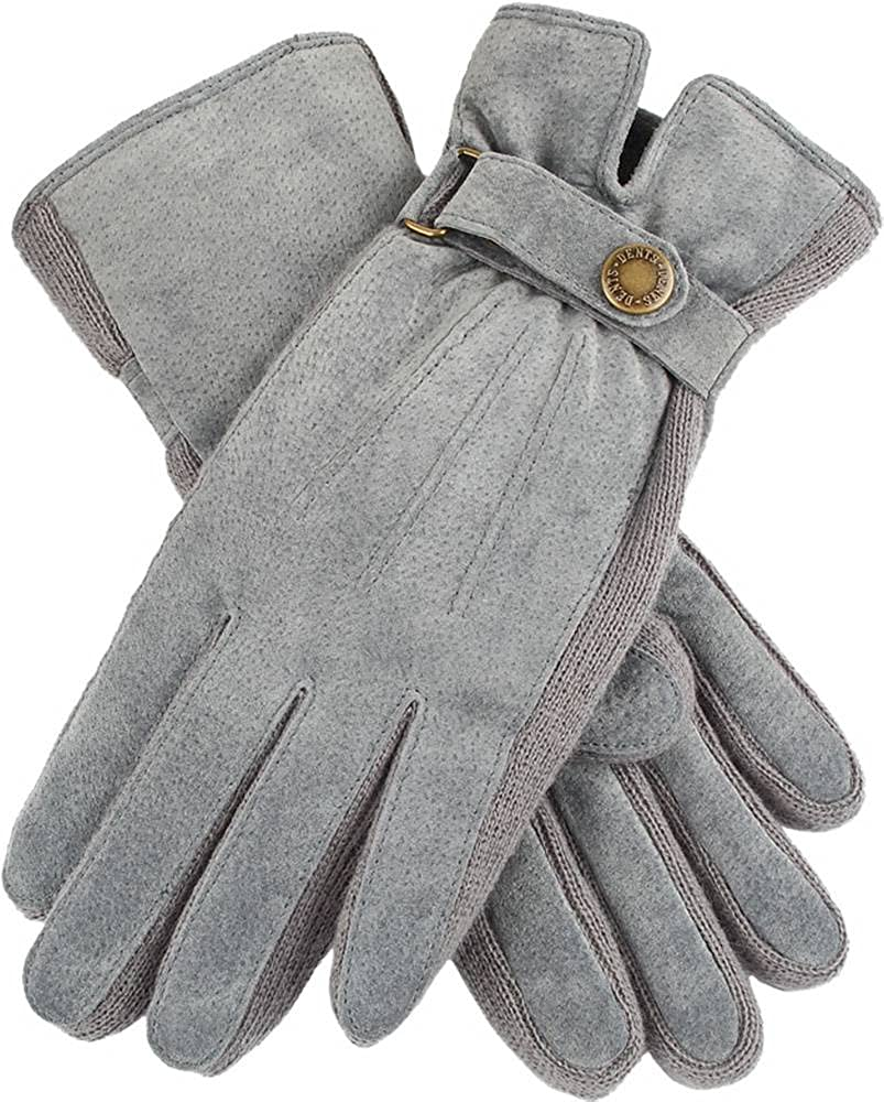 Dents Womens Laura Strap Detail Suede Gloves - Charcoal