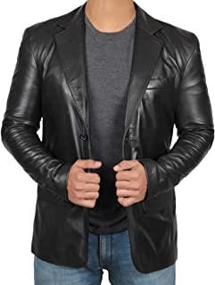 Black Leather Blazer for Men - Real Lambskin Brown Leather Mens Blazer