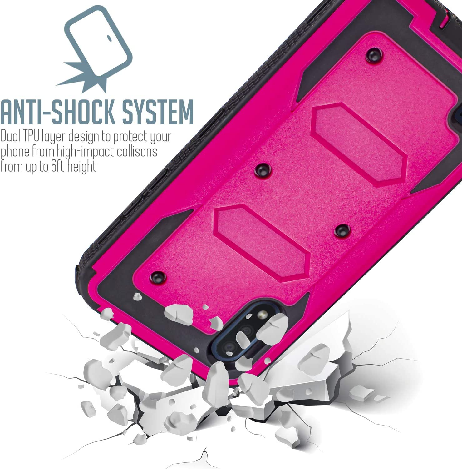 Compatible for Samsung Galaxy A01 Belt Clip Case, Jackpot Wireless Case Built-in [Screen Protector] Heavy Duty Holster Cover Phone Case [Belt Clip][Kickstand] (Pink)