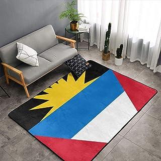Alfombra antideslizante con diseño de bandera de Antigua y Barbuda para decoración de recámara, sala de comedor, sala de estar, 60 x 39 pulgadas, Blanco, Una talla