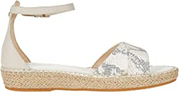 Natural Chalk Python Print Leather/Pumice Stone Leather
