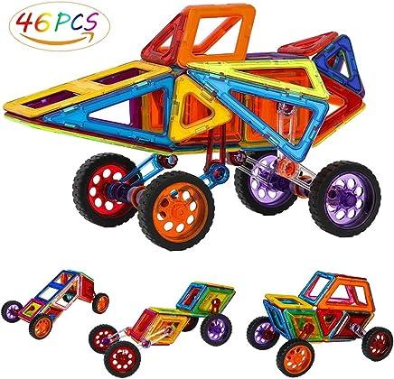 Allnice Magnetic Tiles Building Block Magnet Stacking Toy Set, Magnet Tiles Kits for Kids (Above 3 Year-Old ) - 46 PCS