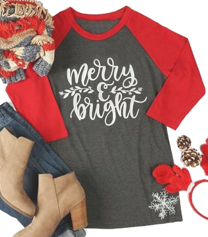 EGELEXY Women Merry and Bright Christmas Letters Print Raglan Long Sleeve Baseball TShirt