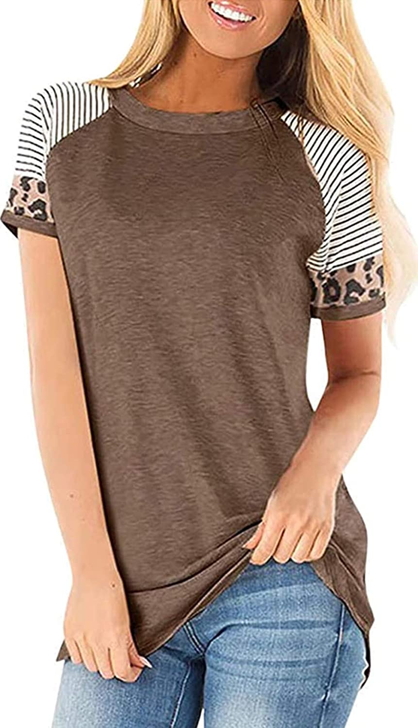 other562 Womens Long Sleeve Leopard Tops Color Block Striped Round Neck Casual Tunic T Shirt Top Blouse