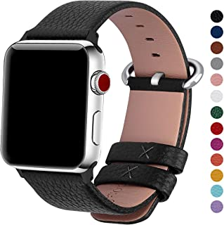 Fullmosa Compatible Apple Watch Band 38mm 40mm 42mm 44mm Calf Leather Compatible iWatch Band/Strap Compatible Apple Watch Series 5 Series 4 Series 3 Series 2 Series 1,38mm 40mm Black