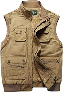 Men's Autumn Warm Outdoor Padded Puffer Vest Thick Fleece Lined Fishing Sleeveless Jacket