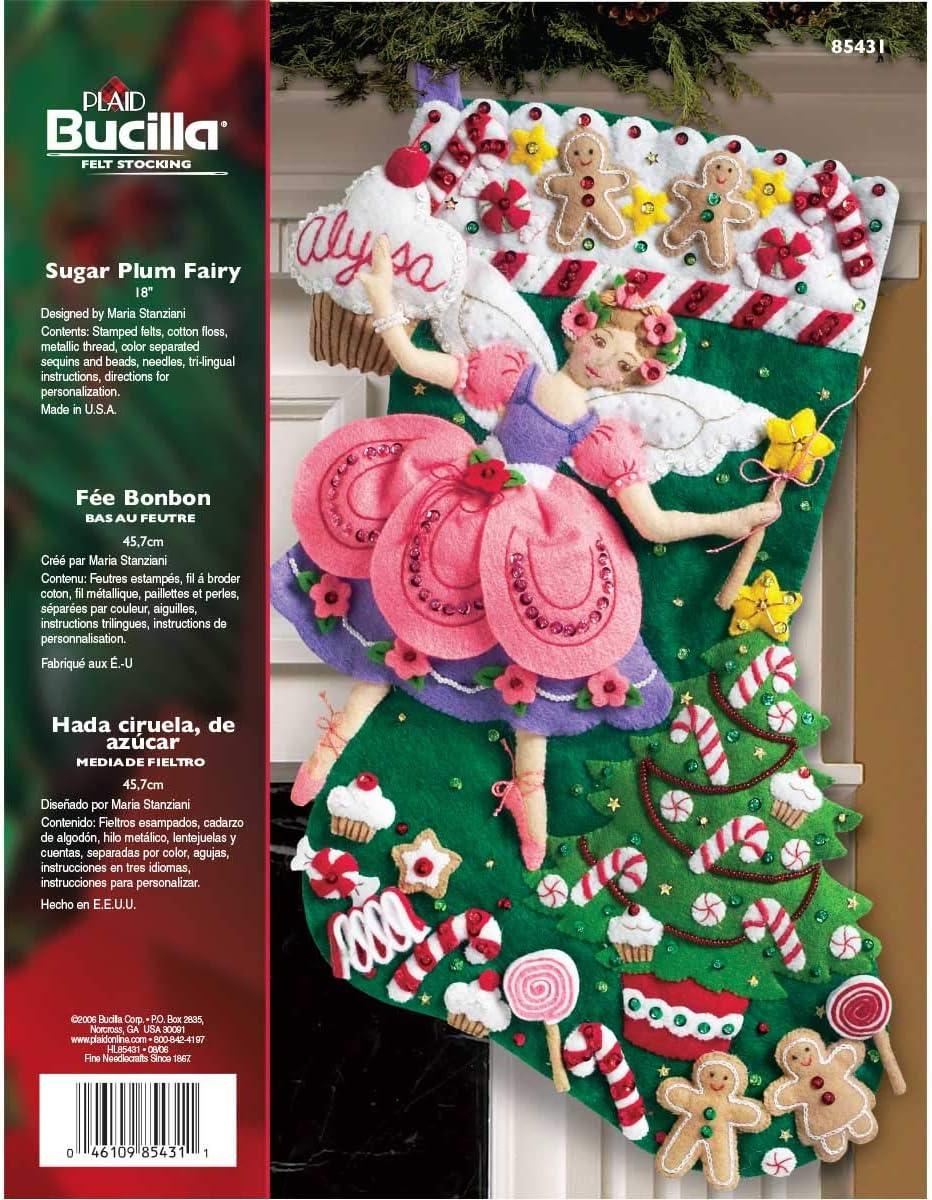 Bucilla Sugar Boston Mall Plum Fairy Christmas Kit Store Felt 8 Applique Stocking
