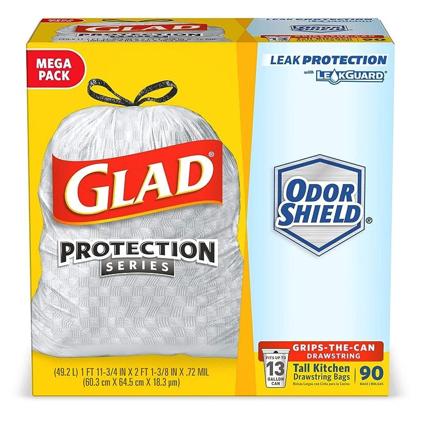 Glad Tall Kitchen Protection Series Drawstring Trash Bags -13 Gallon White Trash Bag - 90 Count (Packaging May Vary)