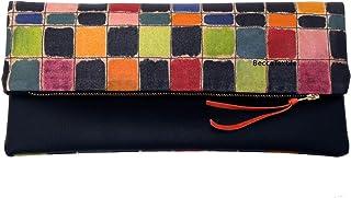 Clutch, design esclusivo a mano unica, immagini dipinte in portfolio, regalo speciale, creato da BeccaTextile.