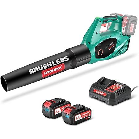 Soplador de Hojas a Bateria Brushless 36V, HYCHIKA 2x 4.0Ah Batería, 2 Velocidades, 212 Km/h, Cargador Rápido, Soplador de Aire Inalámbrico, para Limpiar Hojas, Polvado de Garaje y Basura Pequeña