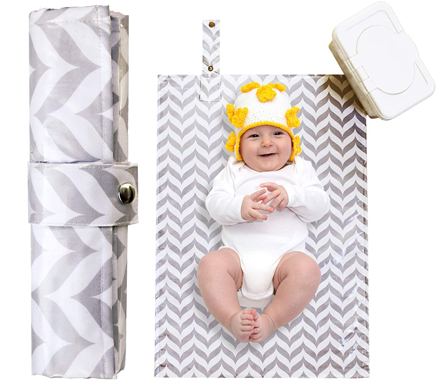 Portable Diaper Changing Pad - Waterproof, Wipeable, Washable -Compact Travel Mat for Infants and Toddlers, Large, Cushioned Quilted Padding - Grey Unisex Boy Girl