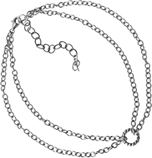 Sterling Silver Chain Double Strand Choker Necklace