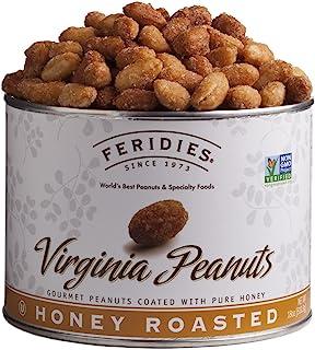 FERIDIES Super Extra Large Honey Roasted Virginia Peanuts - 18oz Vacuum Can