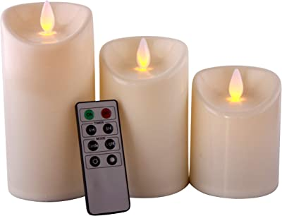 Romandle Flameless Candles LED with Remote - Non-Wax Flickering, Dancing Flame - Unscented - Battery Operated - Candle Set - 8 Key Control - Timer - Indoor - Set of 3
