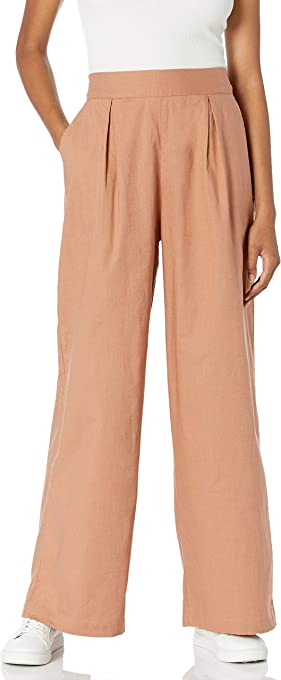 The Drop Women's Agnes Loose-Fit Single Pleat High-Rise Wide Leg Cotton Linen Pull-On Pant