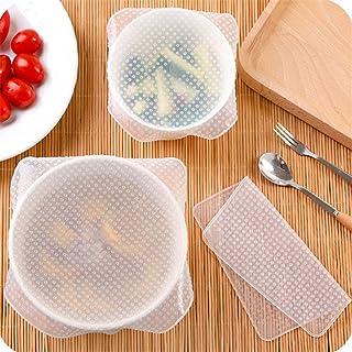 Gulehay 4 piezas reutilizables de silicona cubierta de sellado de alimentos, cubierta de película de adherencia elástica i...