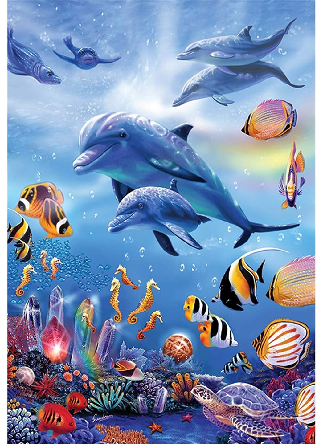 Twuky DIY 5D Diamond Painting, Home Decoration Crafts, Cross Stitch Craft, Full Drill,Dolphin(13X18inch/33X45CM)