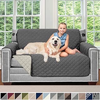 Sofa Shield Original Patent Pending Reversible Loveseat Slipcover, 2 Inch Strap Hook, Seat Width Up to 54 Inch Washable Furniture Protector, Couch Slip Cover for Pets, Kids, Love Seat, Charcoal Linen