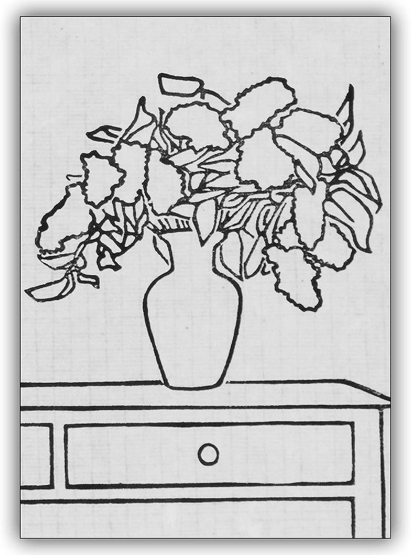 16 Blaumen Grusskarten (16er Set) Set) Set)  Stillleben mit Flieder   Künstler Linolschnitt Grusskarte in schwarz weiß B00VRSQ9VS | Speichern  839420